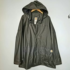 Carhartt mens rain jacket vented black 2x